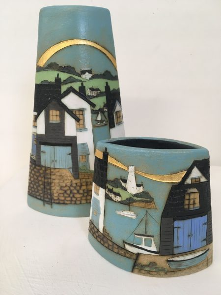 """My main ceramic work draws inspiration from the British coastline and wildlife, and I regularly exhibit at a number of galleries around the UK. I have also been developing new ideas and experimenting with pit firing, and so some of this work will also be on display at Open Studios. My pottery studio is located on the family working farm where I live, in the village of Benwick in the rural Fenland countryside. We will be exhibiting for the final weekend of Open Studios (13th & 14th July) at Venue number TBC in the directory. There will be a range of ceramics and textile work on display, come and look round the studio, and watch the raku and pit-firing experiments (weather permitting). I will be joined by Andrea Van Kleef (www.thegardenpotter.com) who makes a range of functional ceramics and colourful woven textiles. Also exhibiting here for the first time is Debbie Davis (www.debbieonthebrink.com) who will be showing her beautiful individual handbuilt ceramics.  Christine & Brian Withall will also be in residence just for Saturday 13th , with raku firing demonstrations. If you fancy the idea of making a bowl for raku firing at the pottery studio on Saturday 13th, Christine is offering the opportunity (over the first two weekends of Open Studios) to make a small moulded bowl at her Open Studio venue (number TBC) in Peterborough, where she is exhibiting alongside jeweller Kerry Richardson glass artist Carrie Anne Funnell and glass artist Brian Withall. Christine will then have your work bisque fired and ready for you to decorate on the final Saturday of Open Studios (13th July) here at my pottery studio. Once you have decorated your bowl, you can watch it being raku fired by Brian. For more information and cost details, contact Kerry on (TBC) or just turn up (weekends 1 or 2) at their venue in Peterborough!  Refreshments of tea, coffee, cold drinks and yummy homemade cake will also be available. Plenty of outdoor seating should you wish to just come and watch the """"goin"""