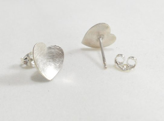 Sterling, Silver, Heart, Ear studs, Earrings, Butterfly, Handmade, Handcrafted