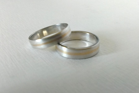 Sterling, Silver, 9ct, Gold, Wedding, Rings, Bands, Hallmarked, Commission, Inlaid, Matt finish