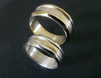 Silver, Gold, Wedding, Rings, Band, Inlaid, Handmade, Handcrafted, Sterling, 9ct