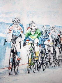 Sports Trade team cycling painting,six cycling in a blue painting,cycling uphill on bikes,team cycling uphill