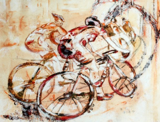 Orange Etching of peterborough cycling team,sport etching of cycle team,tour de Peterborough orange etching