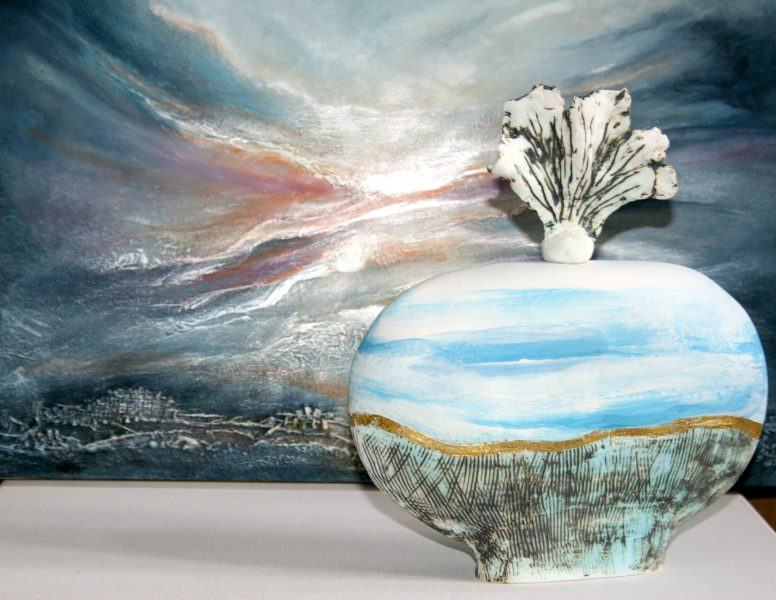 Sea, Sky and lanscape inspire my work.  These richly textured andatmospheric paintings are semi abstract and expressionistic. Rather thanmimic nature, I prefer to describe the qualities of a subjective experience.  Ceramics is an exciting and natural progression of my work. Hand-building and manipulating clay into objects inspired by nature's forms and structures is an extension of my textured, atmospheric paintings. Latest work includes ceramic Wall Art, currently showcased in galleries around the UK.  Previous and current exhibitions include: V&A London in the 'Inspired by…' Exhibition  Cecelia Colman Gallery, London  VK Gallery, St Ives, Cambridge Ferrers Gallery, Ashby de la Zouch Atholl Gallery, Perthshire Dotty Gallery, Twyford, Leicestershire Doghouse Gallery, Comber, Northern Ireand Whitehouse Gallery, Kirkcudbright, Scotland Solo Gallery, Sheffield Strathearn Gallery, Crieff, Perthshire Neil's Gallery, Filey, North Yorkshire Inspired by Gallery, Danby, North Yorkshire Moors  Stamford Arts Gallery Art in the Heart, Peterborough Rutland Open Art, Rutland County Museum Oakham  Peterborough Museum and Art Gallery  Atelier East, 'Best in Show' 2011