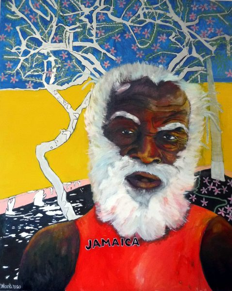 """My oil paintingsand drawings are of expressionistic themes of portraits and the Caribbean featuring prominently. Other portraits are of outsiders like clowns & tramps. Most oils are large size.  My book, Travelling Shoes, has been published during 2018 and contains a mixture of 100 poems and illustrations of my paintings in colour. Showing 50 years of my painting and poetry.    [caption id=""""attachment_4807"""" align=""""alignnone"""" width=""""533""""] Graham Ward - The Red Tree 2015[/caption]  [caption id=""""attachment_4832"""" align=""""alignnone"""" width=""""533""""] Graham Ward Three Rockabilly Girls 1997[/caption]    [caption id=""""attachment_4824"""" align=""""alignnone"""" width=""""533""""] Graham Ward Woman with Washing Line 2011[/caption]  [caption id=""""attachment_4820"""" align=""""alignnone"""" width=""""300""""] Graham Ward Paul the Horse Dealer and his dog[/caption]  [caption id=""""attachment_4816"""" align=""""alignnone"""" width=""""246""""] Graham Ward Slave to Love 1993[/caption]"""