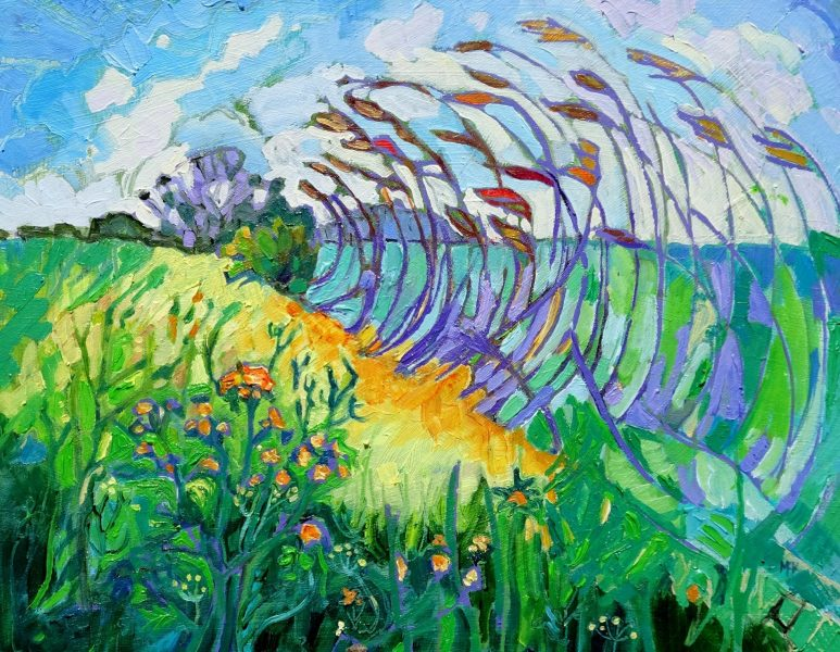 Colourful paintings, big and small, inspired by our wonderful world. Prints and cards too, and a very warm welcome.  You might know me for my many paintings of dogs and the seaside based on the north Norfolk coast. And I still paint those things. But this year I have been working on a very new series of paintings, all ready for the start of our open studio for the weekends of 4th/4th and 11th/12th of July.  I've posted sneak peeks of this new work on my facebook  and instagramfeeds , so do have a look.  You'll find paintings related to all the wonderful things and places I've been privileged to experience recently. And yes, that does include the occasional seaside or two, plus arid places and leafy green rolling hills.  As usual my workplace studio is open for all to see. I display original paintings, prints and my famous cards. I'd love you to look round my garden because the sun will be shining each day.  Mosaic artist Shelagh is with me for the third year running, and we look forward to welcoming you to our contribution to Peterborough Artists' Open Studios 2020!