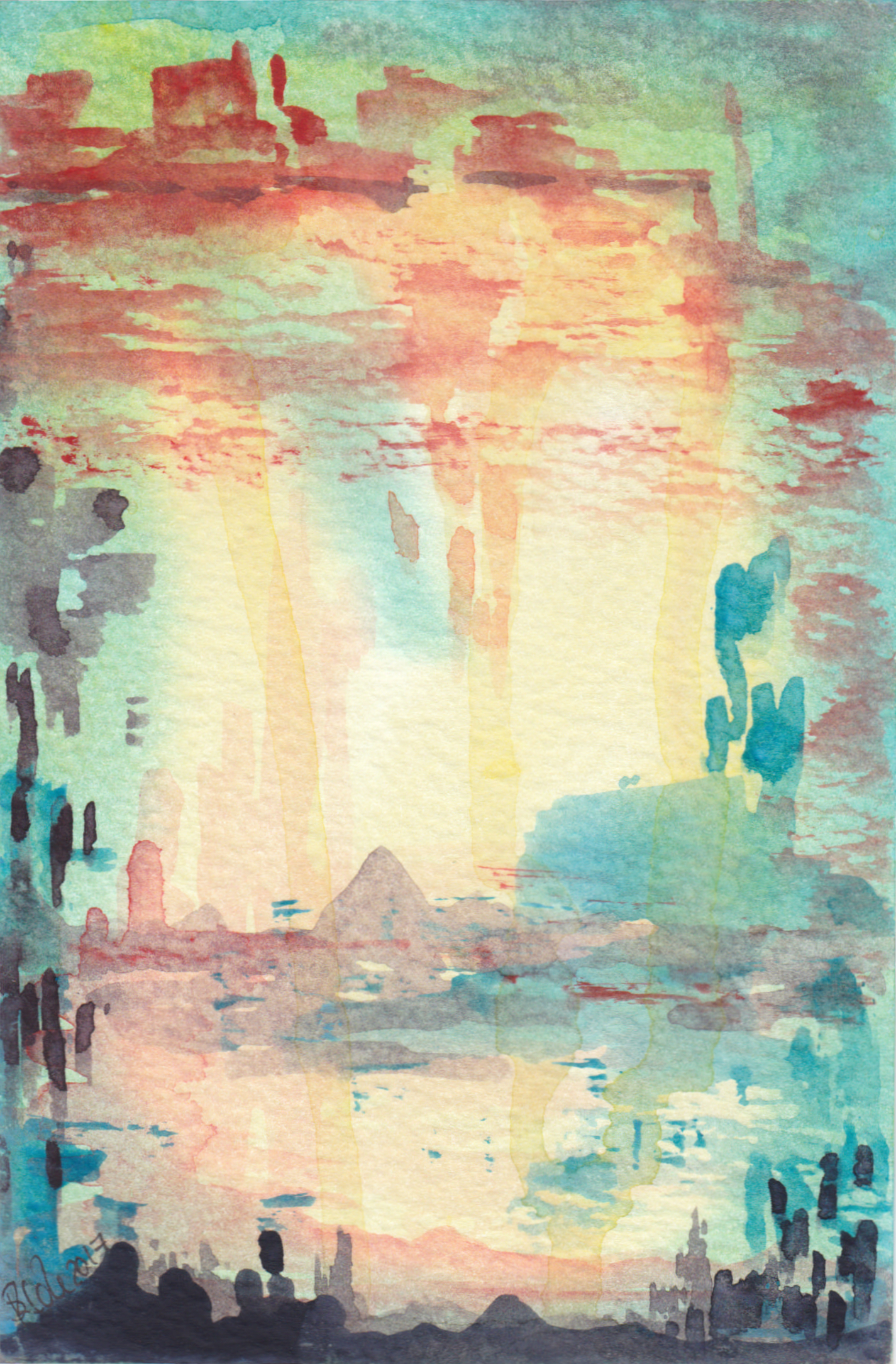'Hidden Cities' Semi Abstract Original Watercolour Painting © Stacey-Ann Cole 2017