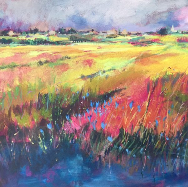 Loose and lovely landscapes in watercolour, oils and acrylics.  A free and impressionistic style in vibrant colours, sometimes combining watercolour with calligraphy.