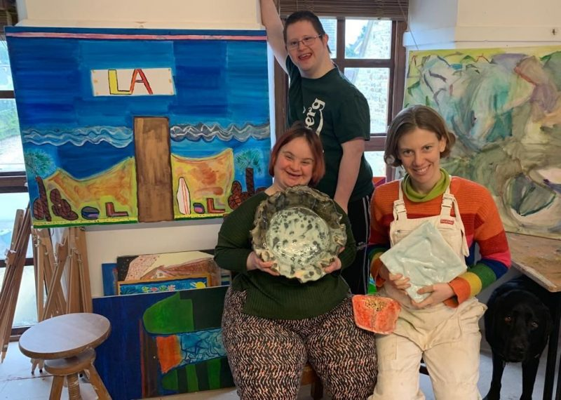 Vibrant artwork, highly individual in style by talented artists with a learning disability. Inspire by the artists everyday experiences.