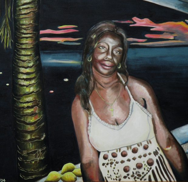 My oil paintings and drawings are of expressionistic themes of portraits and the Caribbean featuring prominently. Other portraits are of outsiders like clowns & tramps. Most oils are large size.