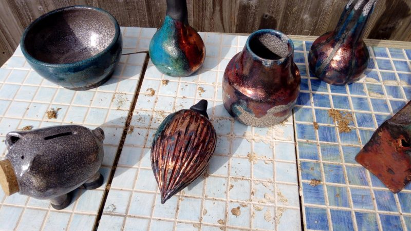 Stunning raku pots, piggies and masks!