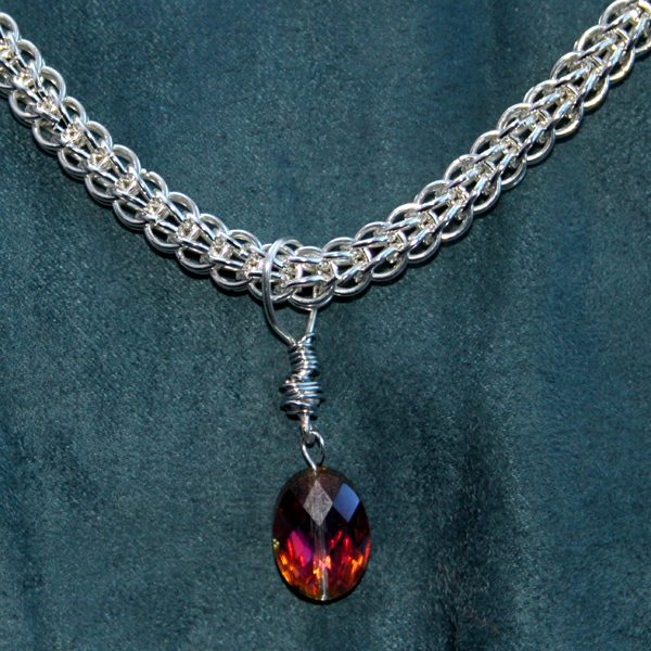 I create jewellery with a combination of chain maille, wire work, beads and crystals.