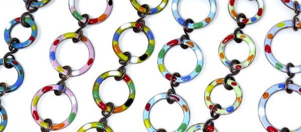 Enamelled copper bracelets by Shalini Austin: Metalsmith