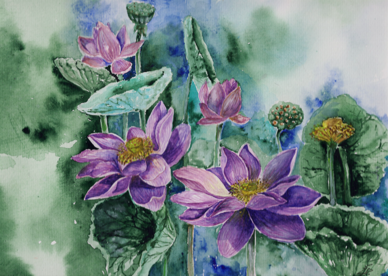 My favourite painting technique is watercolours. I like this media because of the transparency and luminosity I can achieve with them.  Classic style rarely shows up in my pieces because I want to express my feelings rather than illustrate reality. Painting techniques I could not live without is watercolours and acrylics.