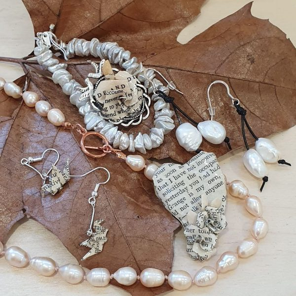 Two very different ranges of handmade jewellery and bridal accessories, one using genuine cultured pearls and the other book jewellery made by recycling paper from old copies of classic novels.