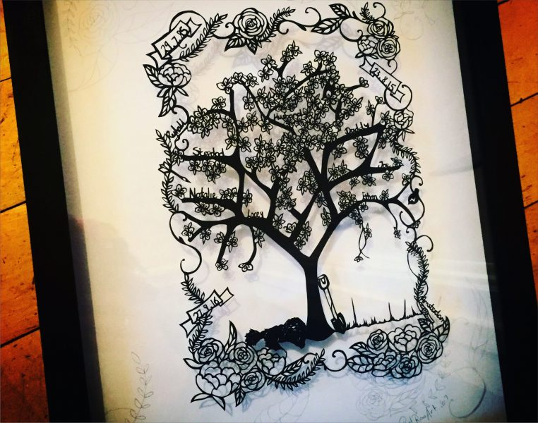 Rowena Roberts, artist in her 30's (36 or 37 she's not sure) creating papercut art inspired by her love of family and the natural world.