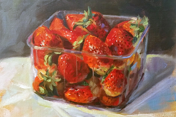 "[caption id=""attachment_634"" align=""alignright"" width=""478""] 'Punnet of Strawberries' oil on linen canvas 8"" x 9"" by Jerome Hunt[/caption]