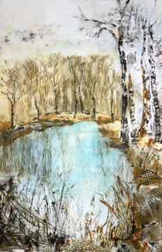 Summer etching Lyveden New Bield,etching of Lyveden New Bield, etching blue lake New Lyveden New field