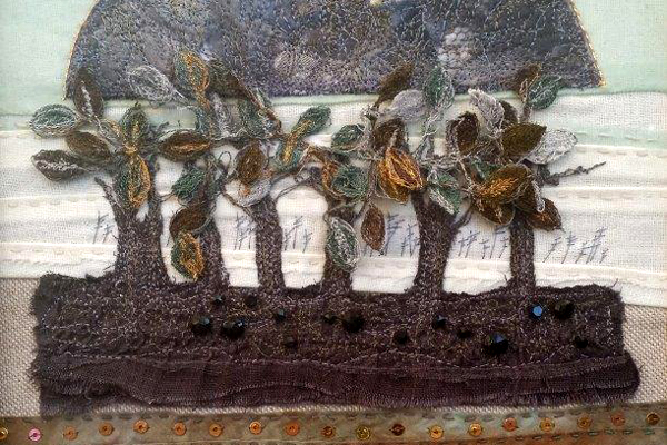 """'Exquisite Heritage' [caption id=""""attachment_2434"""" align=""""alignright"""" width=""""285""""] Faye Gagel-Panchal: Ophelia[/caption] Faye Gagel-Panchal, Liz Hunt, Lynne Collins Exhibition at Stamford Arts Centre January 28th to February 12th 2017 Three artists inspired by echoes of our rich visual heritage present an exhibition of embroidered textiles, silk painted textiles and textile inspired mixed media works. Faye's work takes inspiration from heritage textiles in the Victoria and Albert Museum, the Cloth Workers Museum and National Trust textiles. Her inspiration is predominantly derived from embroidered works from 16 th and 17 th century European and Asian textiles. The exuberance and delicacy of Eastern textiles is translated into panels which Faye works in mixed media, using oils on handmade paper which is resined or varnished.  [caption id=""""attachment_2425"""" align=""""alignleft"""" width=""""400""""] Monkey by Lynne Collins[/caption]  Liz records the silence and resonance of the natural landscape. Returning from sketching and photographing in situ, she develops the memory of place which she then constructs into textile works in her studio. The quiet beauty of these places generates the presence to be found in her narratives and is interpreted by recurring motifs and techniques. The places recorded have hidden memories, intangible and ephemeral, Liz crafts these mementoes to take form in repeated slow stitching and machine embroidery as if securing them in permanent form.  [caption id=""""attachment_2427"""" align=""""alignright"""" width=""""256""""] Skye Monolith by Liz Hunt[/caption]  Lynne exhibits silk paintings derived from subject matter close to her heart. As a volunteer guide at Peterborough Cathedral she has always found the beautiful 13 th century oak ceiling inspirational.  In preparation for her works on silk she uses her skills honed from her activities as an Urban Sketcher to record the mediaeval images. Thus the mystery of the images of the ancient artisans is translated into beautifu"""