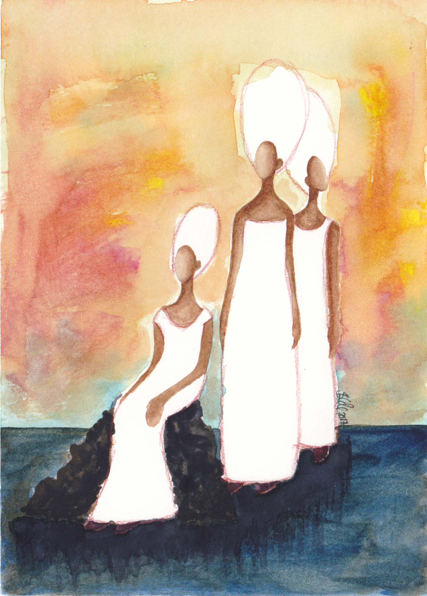 'Watchwomen' Original Watercolour Painting by Stacey-Ann Cole