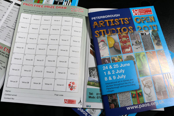 PAOS FREE PRIZE DRAW  Your Chance to win £100    To celebrate our 17th year of Open Studios this year, we're offering you the chance to win £100 to spend with the PAOS artist(s) of your choice.  For a chance to win, collect 8 stickers from 8 different venues (each venue has a corresponding number on the grid in your brochure) An artist at the venues you visit will add a venue sticker to the grid in your brochure. Once you have 8 stickers, please fill in your details, cut out the page and hand it to an artist at one of the venues.  You can enter more than once if you're really crazy for local art and have visited many more venues. But remember all entries must be in multiples of 8.  Entry closes at the end of events on 9th July. The winner will be notified by the end of July  Terms and Conditions  1. Entrants must be 18 years of age or over and UK residents.  2. No purchase is necessary and no maximum number of completed entries.  3. The free prize draw closes at 12 midnight Sunday 9thJuly 2015.  4. PAOS 2017 members exhibiting aren't eligible to enter the prize draw.  5. The winner will receive £100 in vouchers to spend with the PAOS 2017 artist(s) of their choice before 31 December 2017. No cash alternative will be offered in lieu.  6. The judge's decision is final and no correspondence will be entered into.  7. The winner will be contacted by Monday 31stJuly 2017. The winner will be expected to take part in publicity regarding the prize draw.  8. By taking part in PAOS 2017 Prize Draw you are agreeing for your name and photo to be used on thewww.paos.org.ukwebsite and other social media.