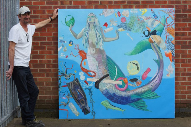 Installation technician Martin and James Tovey's Mermaid Painting on its way to the Vivacity Unit 2018