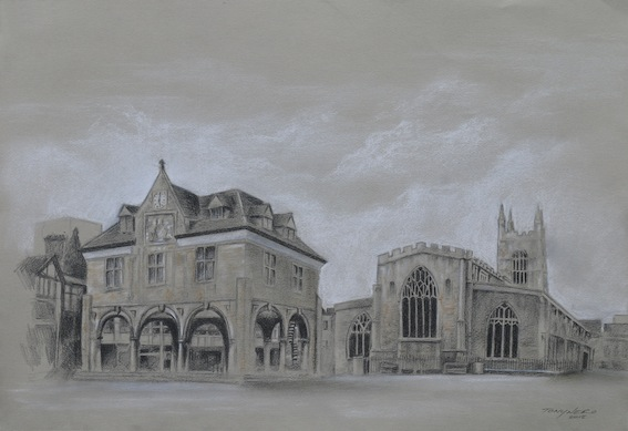 These drawings were first shown at the Norman Cross Gallery in September and October 2018 and features a collection of works, of some of the Heritage sites and buildings in Peterborough. With a focus on the Norman Cross site the first prisoner of war camp during the Napoleonic War, to the Gates Memorial in Bishop's Road Gardens. There are a lot of places in our city that not only means a lot to our community but also means a lot to many individuals. We take a lot of these places for granted but there are so much to see and learn all around us.     Process piece of The Guild Hall, Cathedral Square.    It's always refreshing as an artist, going back to your roots of drawing as a medium, but as well as being exciting to produce these pieces, it's also been a challenge trying hard not to use paint or colour. The body of work was produced in pencils, charcoal and pastels but some of the pieces I felt lend itself to a dash of colour. This was achieved by using pastel and slightly coloured paper. Amazing what you learn also when observing these buildings and sites.    Tony enjoying a moment at his exhibition.    Those of you who know Tony's work will know that he works in a variety of mediums and my work is always vibrant. While working on these pieces he was often tempted to paint some of the pieces but held back. It's very strange and also a nice change not doing any painting for so many months.    Paul and Alison Saunders are frequent visitors to the Museum Caffe.    Tony says, this exhibition only consists of 10 pieces, whereas the original exhibition had 14 pieces. I would like to add this is not the end of this project. More work is being added to the collection and continues into the months ahead, with views of developing the project.     All works  on display are for sale and you can also order prints from the Museum, greeting cards are also available.     To find out more about Tony Nero and his work you can follow artoftonynero on twitter, facebook or visit his w