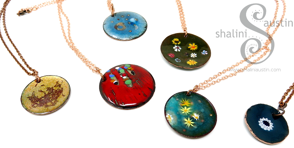 Enamelled Copper Pendants by Shalini Austin