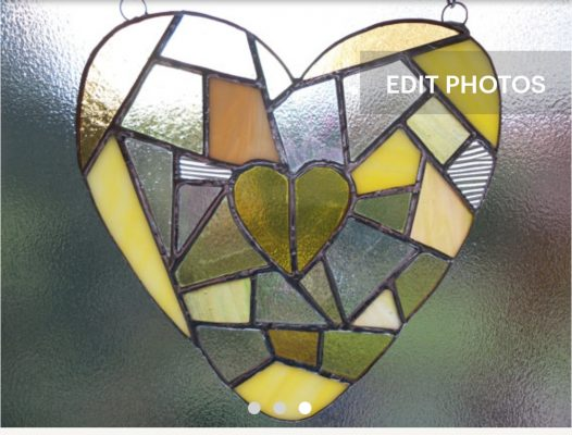 Yellow and clear mosaic style stained glass heart suncatcher