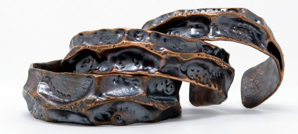 'Fantasy' Air Chased Copper Pipe Cuffs by Shalini Austin: Metalsmith