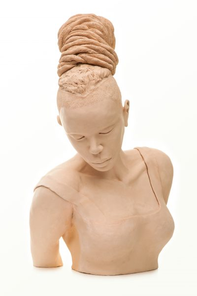 Using the West African Griot tradition of storytelling I create figurative sculptures in ceramics, jesmonite and bronze, telling stories of the struggles and journey of the Black woman.