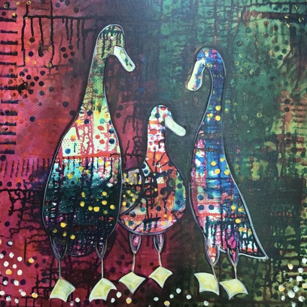 I am an emerging self taught artist working predominantly with acrylic and ink on canvas. I also like mixed media and printing My style is colourful, quirky, intuitive and fun.